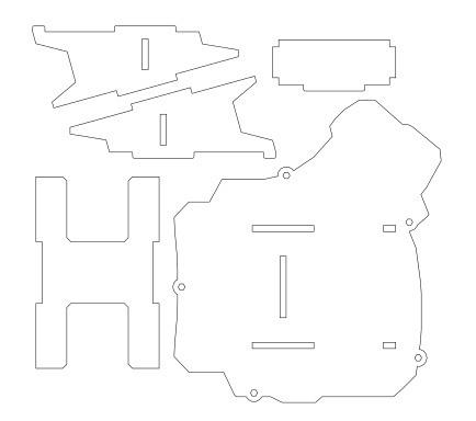 自作キーボードDactyl Manuform 4×5用スタンド(レーザーカット用DXFデータ)