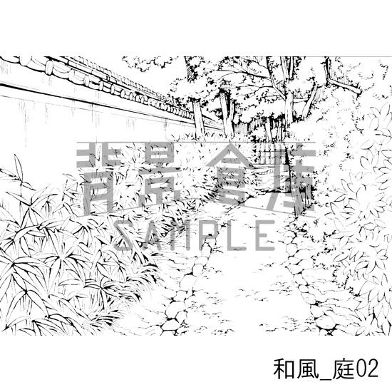 和風の背景_庭02