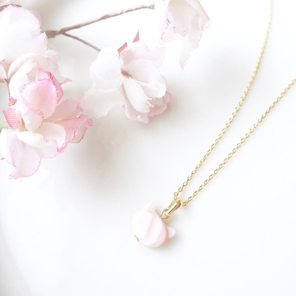 【天然石】桃猫シェルネックレス