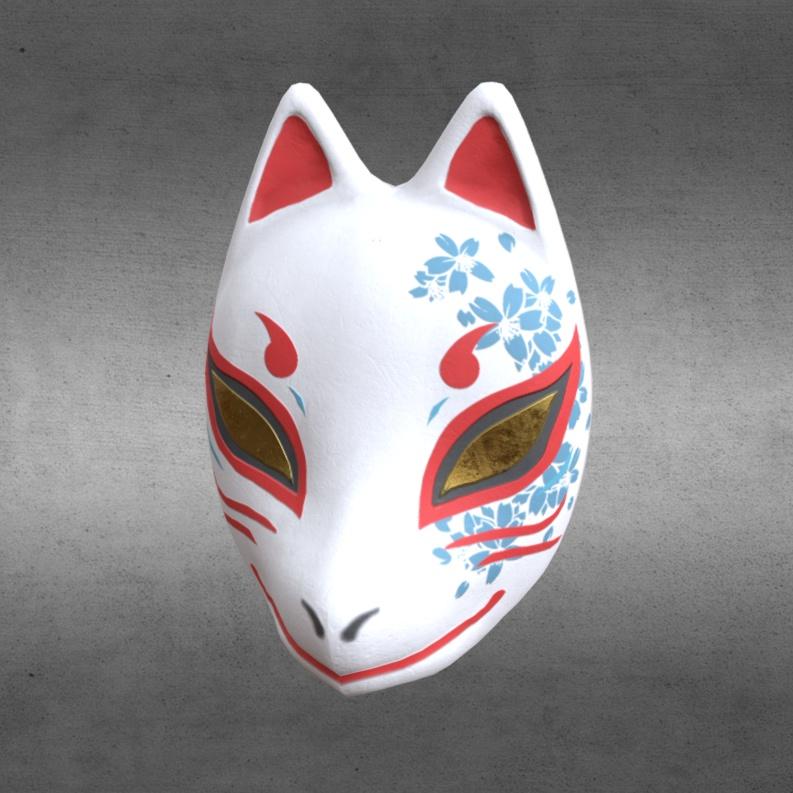 fbxモデル 狐面「蒼櫻/紅櫻」