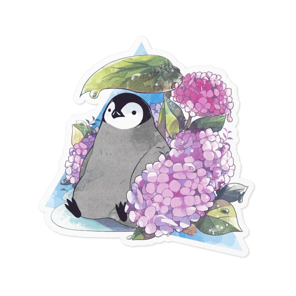 ペンギンと紫陽花ステッカー