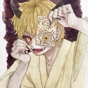水彩原画『鬼の御札』