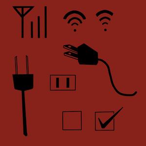 コンセント、チェックボックス、電波