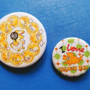 金シャケ様とI Loveサーモン缶バッジ