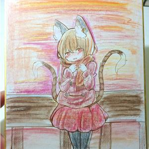 【東方】橙ちゃん手描き色紙