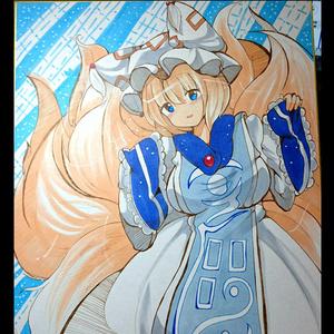 【東方】八雲藍色紙【手描き】