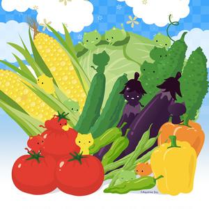 ねこまんまタオル:夏野菜