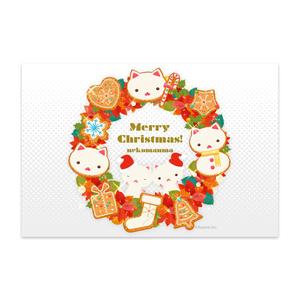ねこまんまポストカード:クリスマスリース