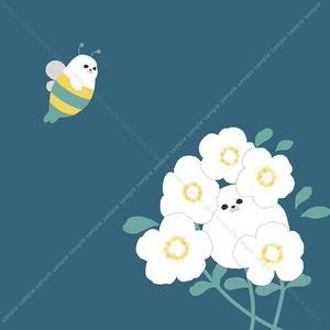 お花とあざらし ちょっと大きめサイズのミニタオル