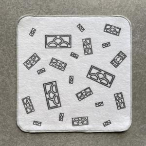 透かしブロック柄のタオルハンカチ