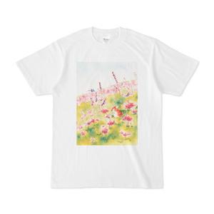猫とピンクの花Tシャツ(Cat and pink flowers T-shirt)