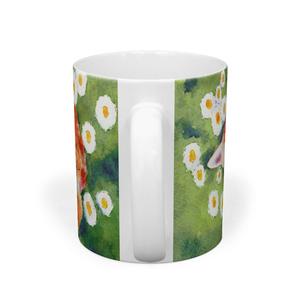 花とお昼寝猫マグカップ(Cat Mug sleep with flowers)