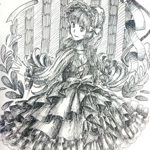 【原画一点物】ポストカード(おさげの女の子)