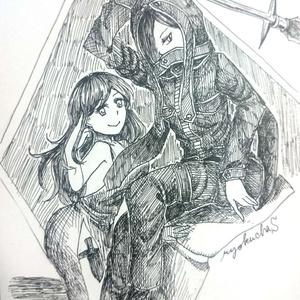 【原画一点物】ポストカード(槍兵とお姉さん)