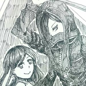 【4枚セット】ポストカード(槍兵とお姉さん)