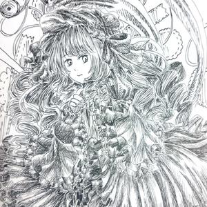 【原画一点物】ポストカード(裁縫乙女)