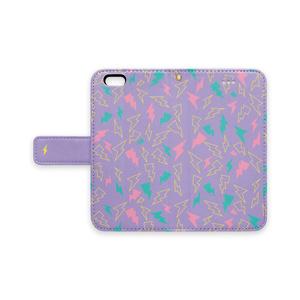電気(紫)手帳型iPhoneケース