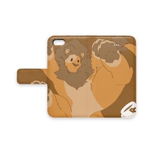 iphone用手帳型スマホカバー「もっちりライオン」