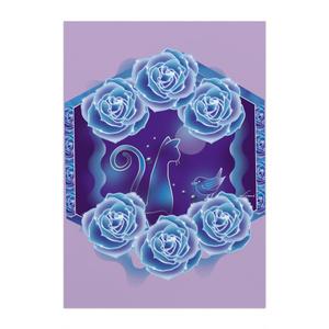 青いバラと青い猫
