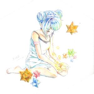 イラスト原画【ぽんこつ流れ星】