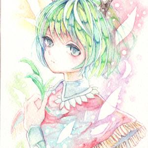イラスト原画【毒と緑の少年】