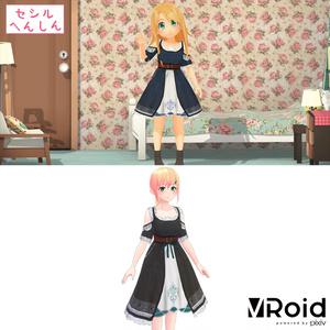 VRoid&セシル変身対応 アンティークドレスワンピース