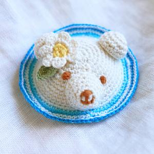 クマクリームソーダ帽子 ブルー お花 L