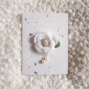マグネット髪飾り 白椿