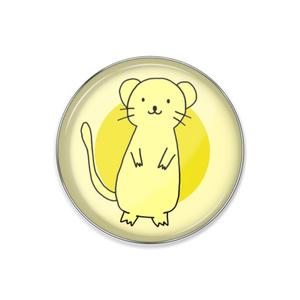 ピンバッジ-希望の黄色いおこじょさん