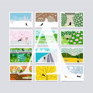 ポストカード Aセット(作家手作り-12枚入)