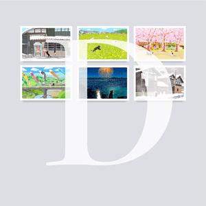 ポストカード Dセット(作家手作り-6枚入)
