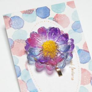 ピンク×青×紫の花のポニーフック