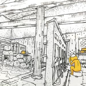 温泉イラスト「オンセンサン」ポストカード(KY・フォトフレーム付き)
