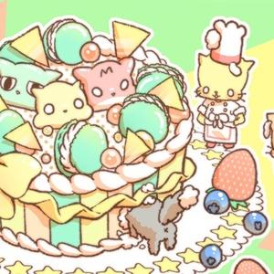 おにゃんこポストカード【ケーキ】