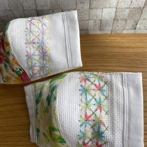 【植物柄】刺繍立体マスク・2枚組