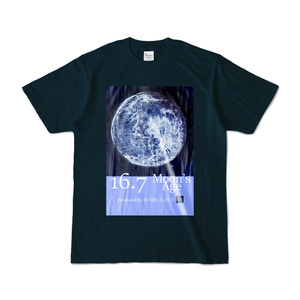"""Moon's Age16.7  """"立待月"""" ネイビーカラーTシャツ"""