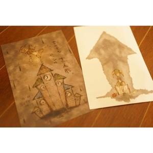 ◆オリジナルポストカード◆ちいさなのっぽの古人形。