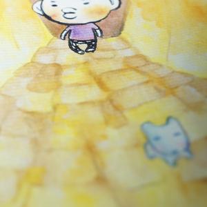 水彩手描き原画◆あおいいぬとぼく◆ポストカード
