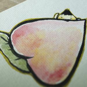 水彩手描き原画◆ももとぼく◆ポストカード