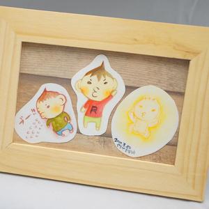 水彩手描き原画◆かわいいむすこ◆額付き