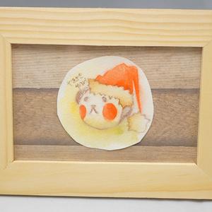 水彩手描き原画◆クリスマス・パッピィー◆額付き