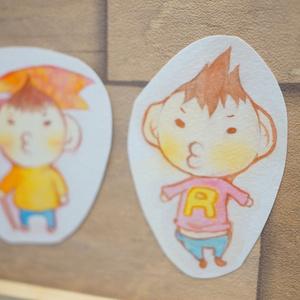 水彩手描き原画◆げんきなむすこ