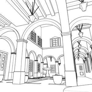 【無料3D素材】冬木教会中庭