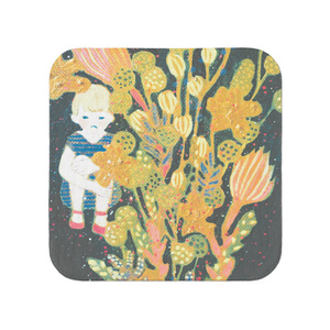 花と女の子の小さいタオル