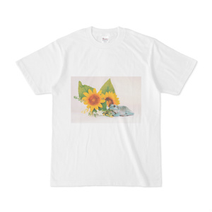 カエルとヒマワリのTシャツ(ホワイト)