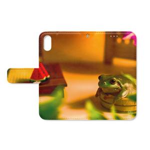 夕涼みカエル 手帳型iPhoneケース - ストラップ穴 あり