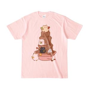 カラーTシャツ(薄ピンク) ぽっちゃりらいふ チョコフォンデュ