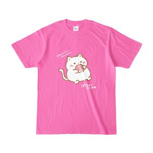 カラーTシャツ(濃いピンク) ぽっちゃりらいふ シロ&桃
