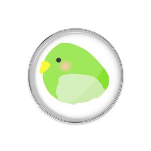うぐいす色の鳥さん缶バッジ