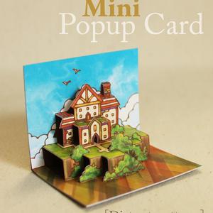 【ミニポップアップカード】 遠くのコテージ